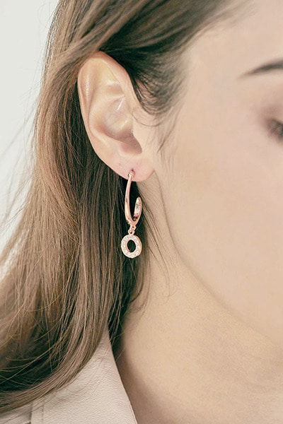 Round Stone Drop Earring