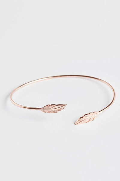 Double Leaves Bangle Bracelet