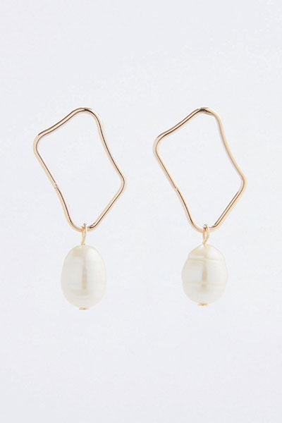 Wave Square Pearl Earring
