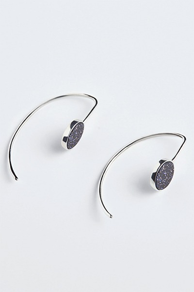Curved Half Ring Stone Earring (나은,손은서 착용)