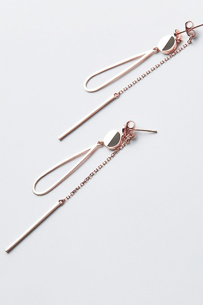 Half Stone Drop Chain Earring (수현 착용)