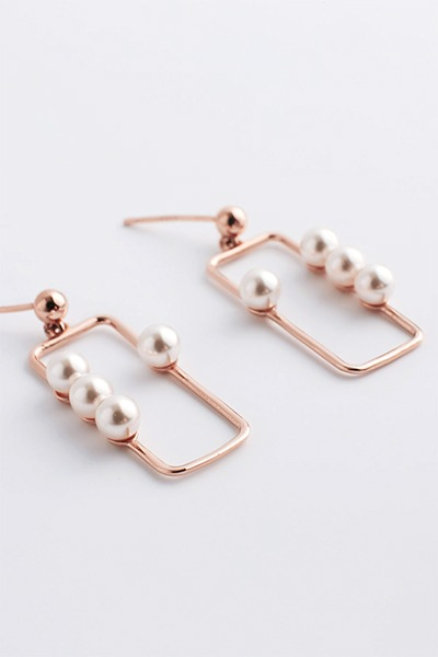 Square Box Pearl Drop Earring (예원,이영아,곽선영 착용)