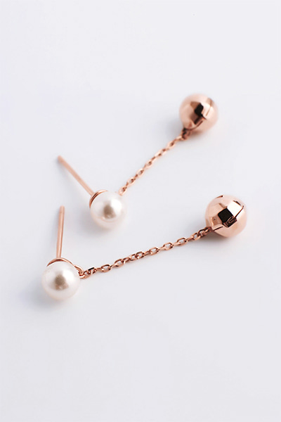 Ball Drop Chain Pearl Earring (장도연,경리 착용)