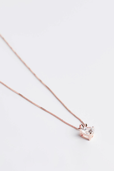 Clear Heart Stone Necklace