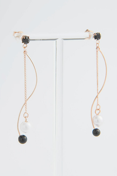 Slim Wave Ball Earring