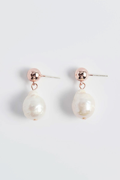 Ball Drop Pearl Earring
