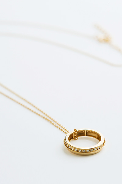 Coin Stone Round  Necklace (+Gold)