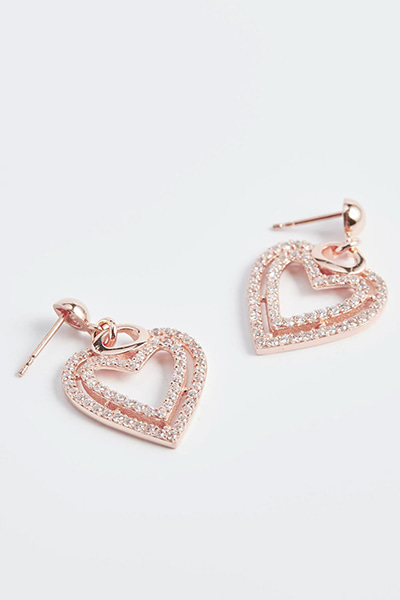 Double Heart Stone Earring