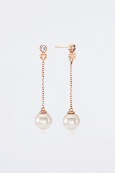 Double Stone Drop Pearl Earring