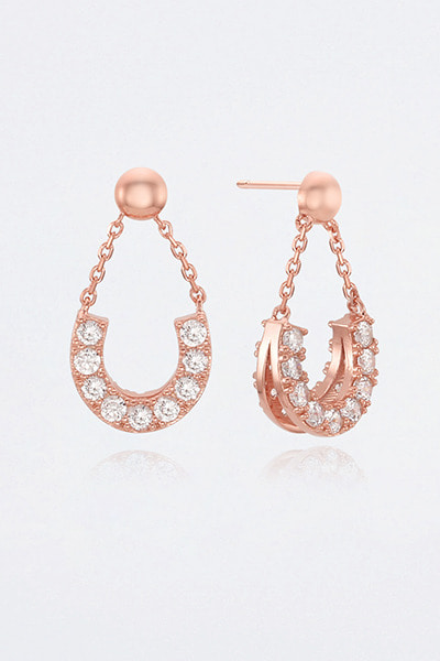 Chain Drop U Stone Earring (이시원 착용)