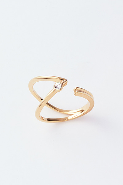 Curved Double Line Open Ring